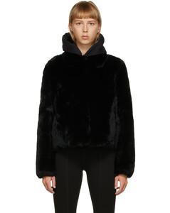 黑色獭兔毛夹克