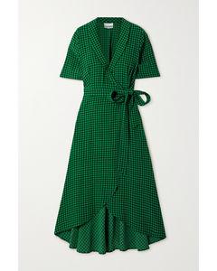 方格绉纱中长裹身连衣裙