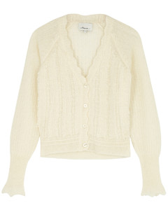 Ivory alpaca-blend cardigan