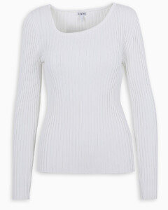 White asymmetric-neck jumper