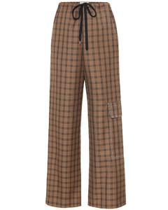Checked virgin wool wide-leg pants