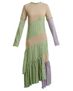Gingham panel round-neck dress