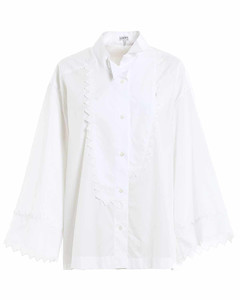 Broderie Anglaise trimmed shirt
