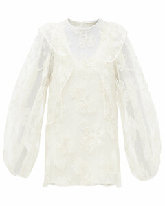 Festive floral-embroidered tulle blouse