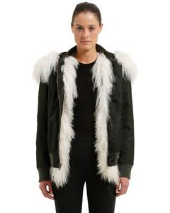 Slim Fit Bomber Jacket W/ Fur
