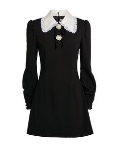 Contrast-Collar Mini Dress