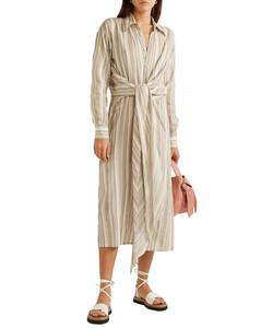 Woman Daniela Tie-front Striped Cotton-voile Midi Shirt Dress