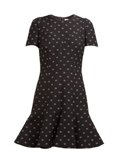 Go Logo-print flared-hem wool-blend dress