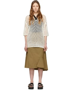 白色鏤空針織羊毛Polo連衣裙