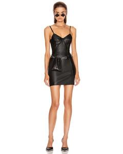 Stretch Leather Dress in Black