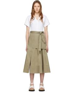 白色&灰褐色軍風T恤連衣裙