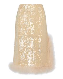 羽毛边饰亮片中长半身裙