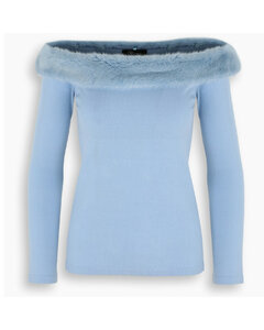 Light blue top with fur detail