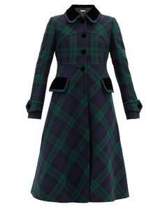 Velvet-collar tartan-wool coat