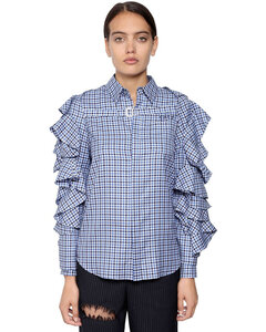 Cotton Plaid Shirt W/ Detachable Shrug