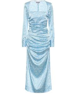 Floral stretch-silk satin midi dress