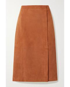 绒面革中长半身裙