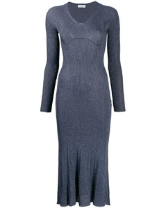 金屬感縫線中長連衣裙