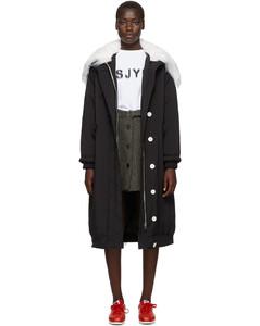 黑色长款加垫夹克