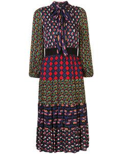 Karolina混合印花中长连衣裙