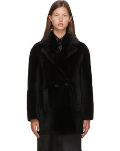 黑色Murano剪羊毛小羊皮大衣