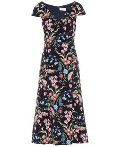花卉卡迪面料中长连衣裙