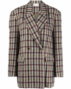 check-pattern double-breasted blazer