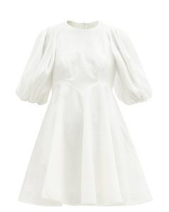 Puff-sleeve linen mini dress