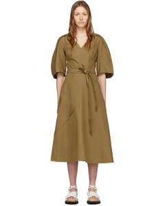 黃褐色燈籠袖連衣裙