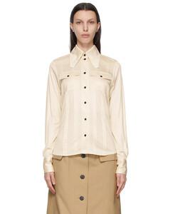 灰白色针裥真丝衬衫