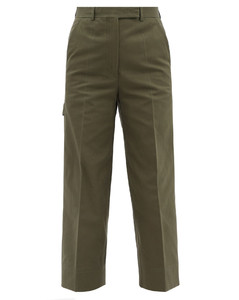 Cropped cotton-canvas trousers