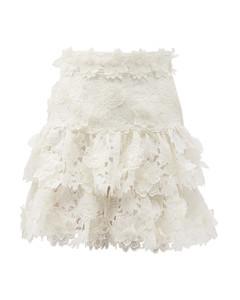 Lovestruck floral-appliquétiered linen mini skirt