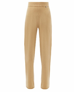 Wide-leg stretch-cashmere track pants