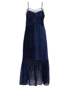 Balloon-sleeve tulle and devorésilk-blend dress