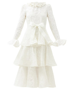 Lovestruck tiered cotton-lace dress
