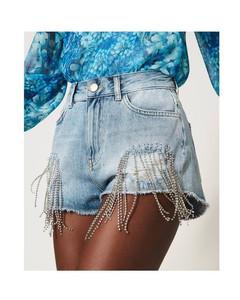 Shorts in jeans con frange di castoni TWINSET 211TT2381 00078