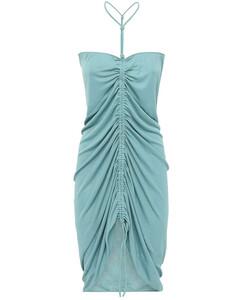 抽绳打褶针织粘胶纤维连衣裙