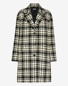 Shetland check wool coat