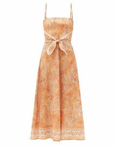 Brighton tie-waist paisley-print linen midi dress