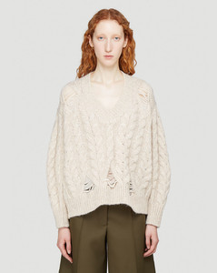 Distressed-Knit V-Neck Sweater in Beige