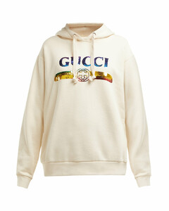 Sequinned-logo hooded cotton sweatshirt