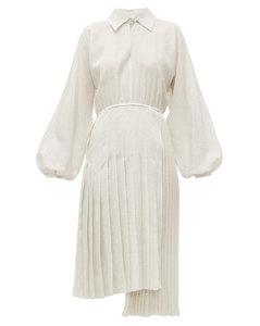 Balloon-sleeve Swiss-dot silk midi dress