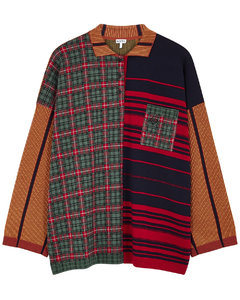 Patchwork wool-blend polo top