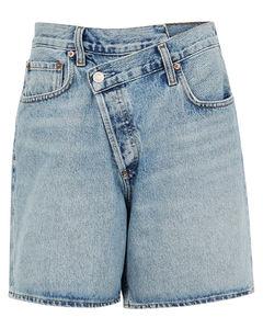 Criss Cross blue denim shorts