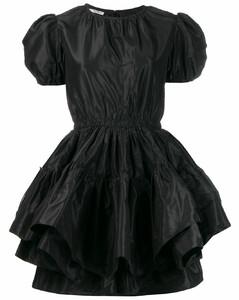 puffed hem short-sleeved dress