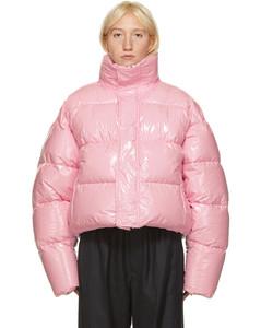 粉色短款亮面填充夹克