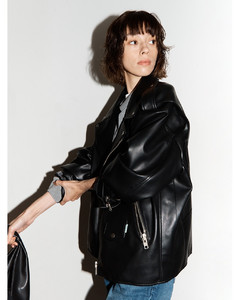 (Priority Shipping) Faux-Leather Biker Jacket