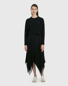 Asymmetric Pleated Skirt Leather Trim