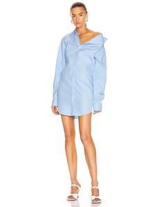 Asymmetric Shirt Dress in Blue