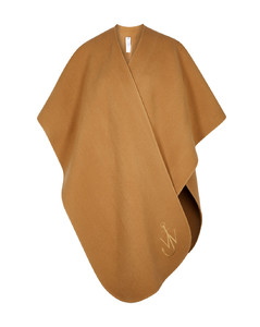 Camel logo-embroidered wool cape